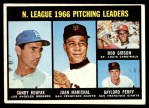 1967 Topps #236   -  Bob Gibson / Sandy Koufax / Juan Marichal / Gaylord Perry NL Pitching Leaders Front Thumbnail