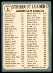 1965 Topps #11   -  Al Downing / Camilo Pascual / Dean Chance AL Strikeout Leaders Back Thumbnail