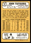 1968 Topps #523  John Tsitouris  Back Thumbnail