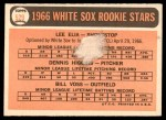 1966 Topps #529   -  Lee Elia / Dennis Higgins / Bill  Voss White Sox Rookies Back Thumbnail