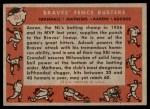 1958 Topps #351   -  Hank Aaron / Eddie Mathews / Joe Adcock / Del Crandall Braves Fence Busters Back Thumbnail