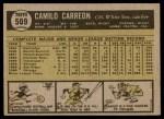 1961 Topps #509  Camilo Carreon  Back Thumbnail