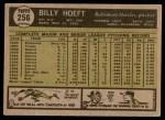 1961 Topps #256  Billy Hoeft  Back Thumbnail