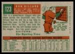 1959 Topps #123  Don Dillard  Back Thumbnail