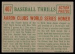 1959 Topps #467   -  Hank Aaron Clubs World Series Homer Back Thumbnail