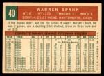 1959 Topps #40 A Warren Spahn  Back Thumbnail