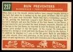 1959 Topps #237   -  Gil McDougald / Bob Turley / Bobby Richardson Run Preventers Back Thumbnail
