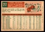 1959 Topps #217  Carl Erskine  Back Thumbnail