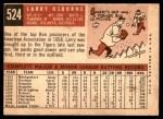 1959 Topps #524  Larry Osborne  Back Thumbnail