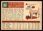 1959 Topps #387  Don Drysdale  Back Thumbnail