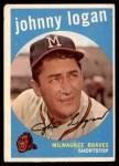 1959 Topps #225  Johnny Logan  Front Thumbnail