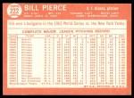 1964 Topps #222  Bill Pierce  Back Thumbnail