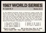 1971 Fleer World Series #65   1967 Cardinals / Red Sox  -    Back Thumbnail