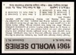 1971 Fleer World Series #59   1961 Yankees / Reds  (Whitey Ford) -   Back Thumbnail