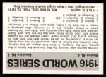 1971 Fleer World Series #14   1916 Red Sox / Dodgers -   Back Thumbnail