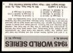 1971 Fleer World Series #43   1945 Tigers / Cubs  (Hank Greenberg) -   Back Thumbnail