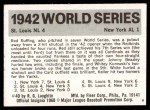 1971 Fleer World Series #40   1942 Cardinals / Yankees -   Back Thumbnail