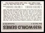 1971 Fleer World Series #37   1939 Yankees / Reds -   Back Thumbnail