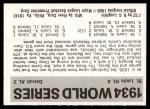 1971 Fleer World Series #32   1934 Cardinals / Tigers -   Back Thumbnail