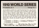 1971 Fleer World Series #8   1910 A's / Cubs  (Eddie Collins) -   Back Thumbnail
