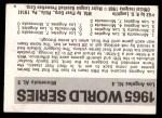 1971 Fleer World Series #63   1965 Dodgers / Twins -   Back Thumbnail