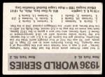 1971 Fleer World Series #34   1936 Yankees / Giants  (Red Rolfe) -   Back Thumbnail