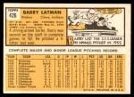 1963 Topps #426  Barry Latman  Back Thumbnail