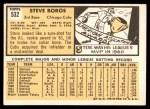 1963 Topps #532  Steve Boros  Back Thumbnail