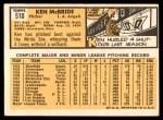 1963 Topps #510  Ken McBride  Back Thumbnail