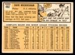 1963 Topps #492  Dave Wickersham  Back Thumbnail