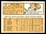 1963 Topps #526  Dick Hall  Back Thumbnail