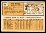 1963 Topps #69  Bud Zipfel  Back Thumbnail