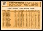 1963 Topps #342  Gene Woodling  Back Thumbnail