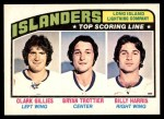 1976 O-Pee-Chee NHL #216   -  Clark Gillies / Bryan Trottier / Billy Harris Long Island Lightning Company Front Thumbnail