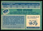 1976 O-Pee-Chee NHL #347  Ted Irvine  Back Thumbnail