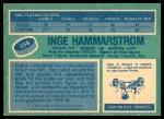 1976 O-Pee-Chee NHL #358  Inge Hammarstrom  Back Thumbnail