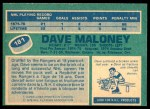 1976 O-Pee-Chee NHL #181  Dave Maloney  Back Thumbnail