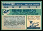 1976 O-Pee-Chee NHL #55  Denis Herron  Back Thumbnail