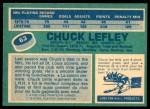 1976 O-Pee-Chee NHL #63  Chuck Lefley  Back Thumbnail