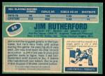 1976 O-Pee-Chee NHL #88  Jim Rutherford  Back Thumbnail