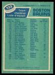 1976 O-Pee-Chee NHL #133   Bruins Team Back Thumbnail
