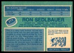 1976 O-Pee-Chee NHL #271  Ron Sedlbauer  Back Thumbnail