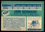 1976 O-Pee-Chee NHL #231  John Bednarski  Back Thumbnail
