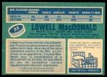 1976 O-Pee-Chee NHL #33  Lowell MacDonald  Back Thumbnail