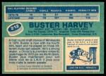 1976 O-Pee-Chee NHL #212  Buster Harvey  Back Thumbnail