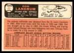 1966 Topps #43 SHW Don Landrum  Back Thumbnail