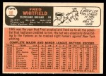 1966 Topps #88  Fred Whitfield  Back Thumbnail