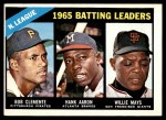 1966 Topps #215   -  Roberto Clemente / Willie Mays / Hank Aaron NL Batting Leaders Front Thumbnail
