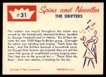 1960 Fleer Spins and Needles #31  The Drifters  Back Thumbnail