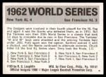 1971 Fleer World Series #60   1962 Yankees / Giants -   Back Thumbnail